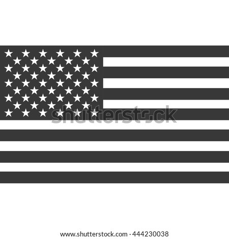 American flag icon with shadow  isolated on a white background - stock vector