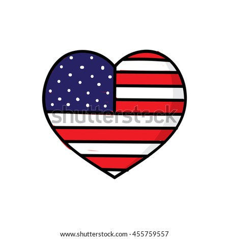 American flag in heart shape hand drawn style
