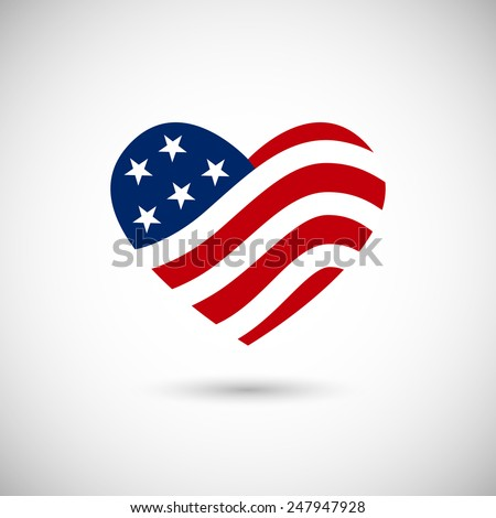 American flag in heart vector illustration sign - stock vector
