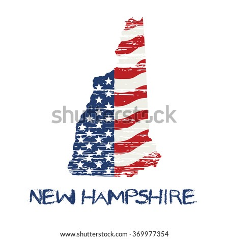 American flag in new hampshire map. Vector grunge style - stock vector