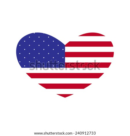 American flag in the shape of heart isolated on white background. Design element, logo template