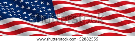 American Flag in the Wind - stock vector