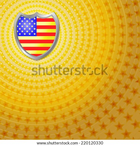 American flag inlay on shield emblem with star background. Vector - stock vector