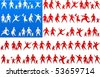 American flag made from human icons - stock vector