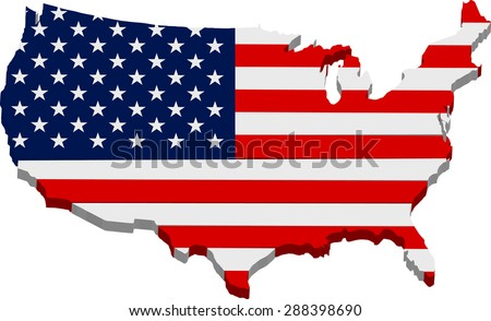 American flag map 3D - stock vector