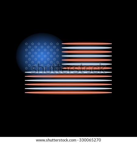 American flag neon light. Vector illustration - stock vector