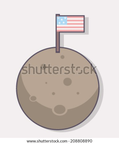 American Flag on The Moon - stock vector