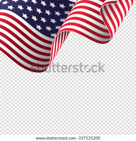American flag on transparent background - vector illustration - stock vector