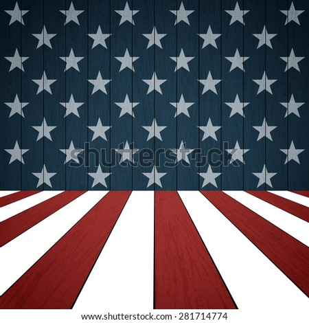 American flag on wood background - Vector - stock vector