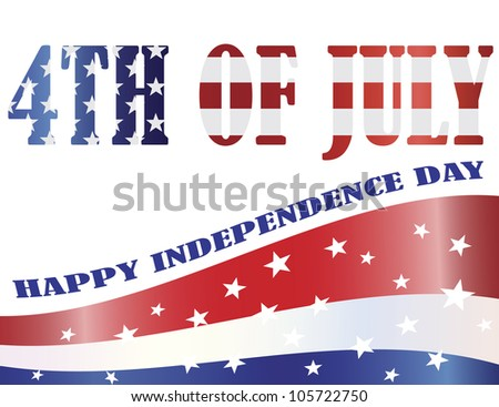 American Flag Outlined in 4th of July Silhouette with Happy Independence Day Text Illustration