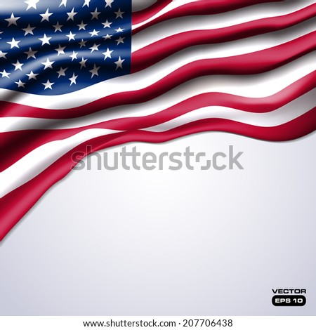 american flag realistic design in vector format - stock vector