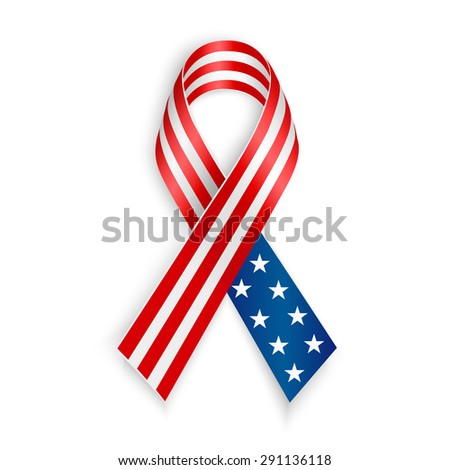 American Flag Ribbon. Patriotic, support symbol. Independence and memorial Day - stock vector