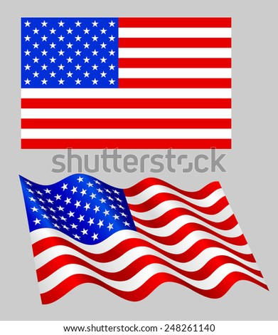 American flag set on grey. - stock vector