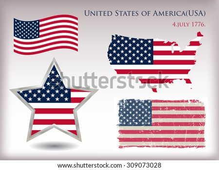 American flag set.USA flag design elements.Vector template.