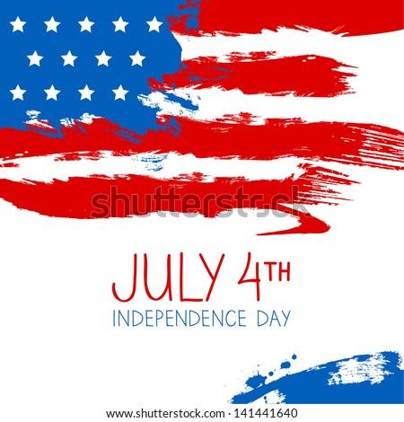 American flag splash background. Independence Day design - stock vector