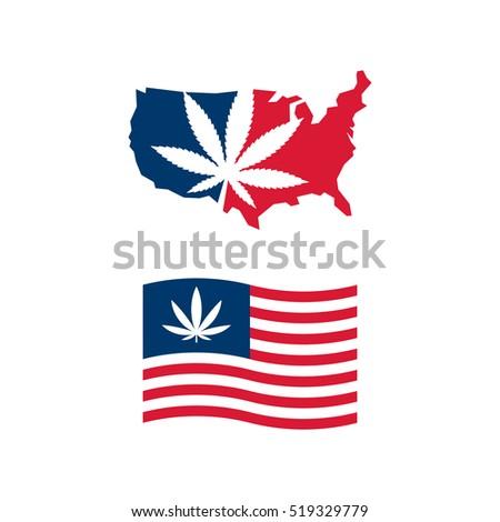 American Flag Us Map Cannabis Vector Stock Vector - Us map logo
