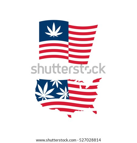 American Flag Us Map Cannabis Vector Stock Vector - Us map logo