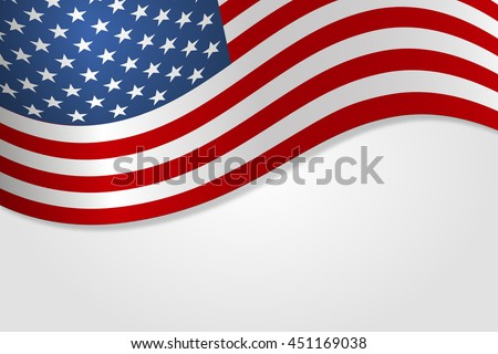 American flag vector illustration stylish design with shadow