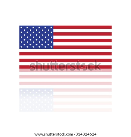 American flag vector with reflection
