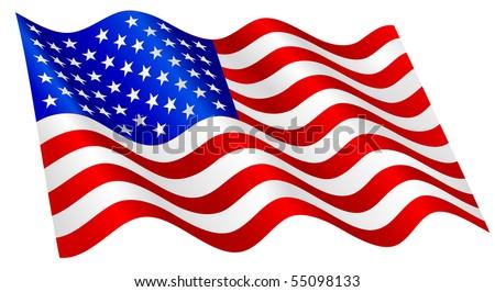 american flag waving stock vector 55098133 shutterstock rh shutterstock com waving american flag vector free download waving american flag vector free