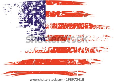 American flag with on grunge - stock vector