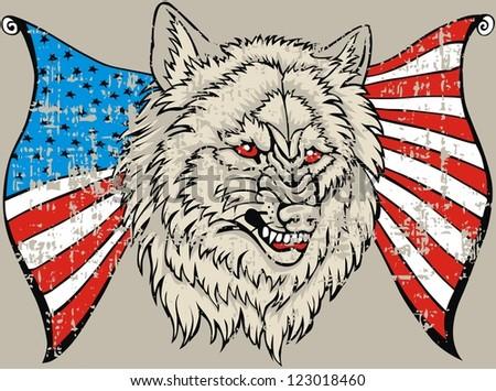 American flag wolf - stock vector