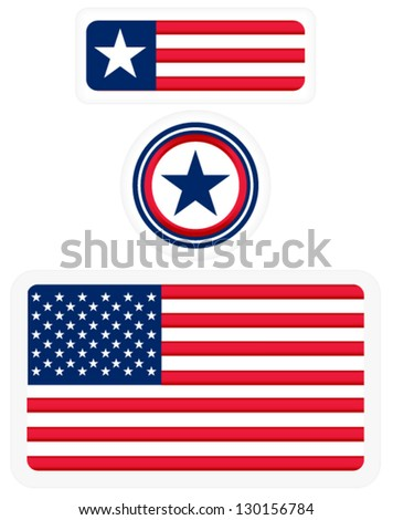 American flags and a badge - 3 matching design - stock vector