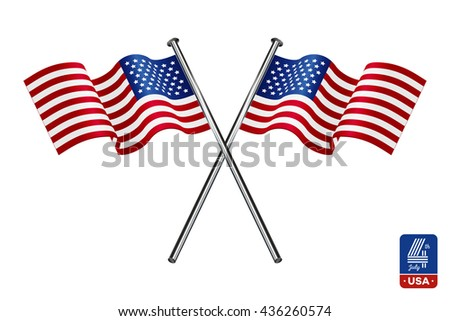 American flags on white background. Happy fourth of July.
