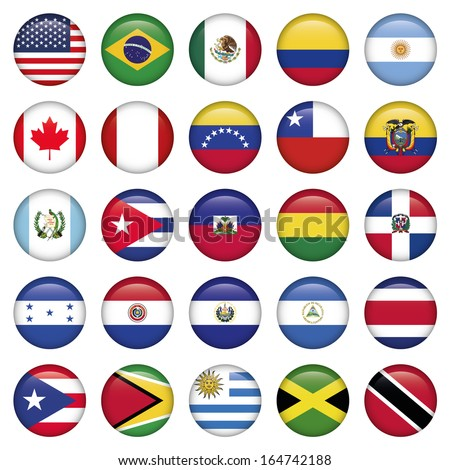 American Flags Round Icons - stock vector