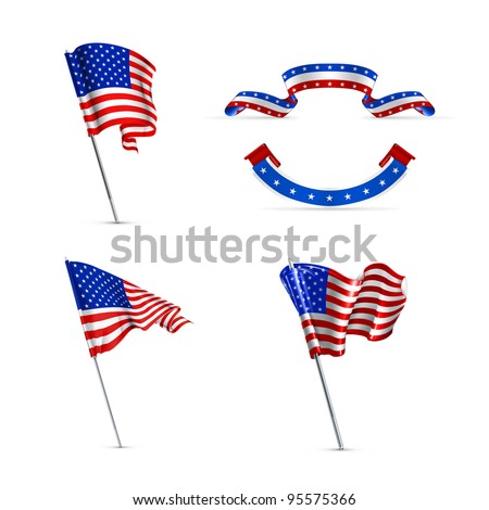American flags, vector set - stock vector