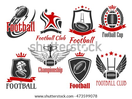 American football and rugby sporting badges of balls, player, trophy cup, goal post frames and helmet, supplemented by heraldic shields, wreath and ribbon banners, stars, wings and crowns