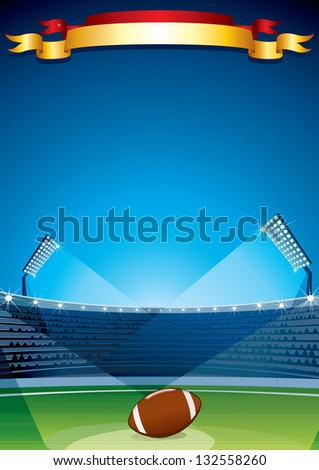 American Football and Rugby Stadium. Vector Design Template. - stock vector