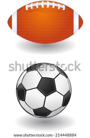 American football and soccerball vector - stock vector