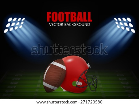 American football background - helmet and ball on the field,  illuminated by floodlights. Vector EPS10 illustration.  - stock vector
