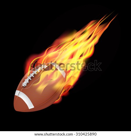 American football ball in fire flying down. Isolated on dark background. Vector illustration - stock vector