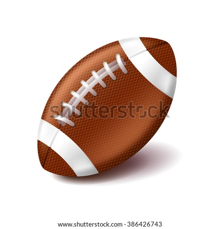 American football ball isolated on white photo-realistic vector illustration