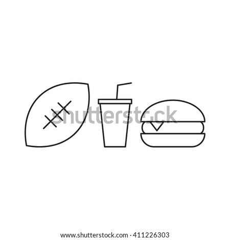 American football ball with burger and soda cup. Outline vector icon on white background. For american football  fans.