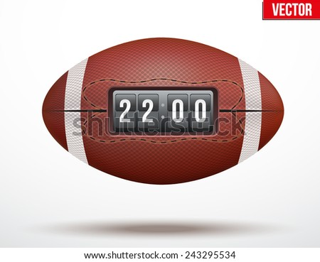 American Football ball with the score of the game. Realistic Vector Illustration. - stock vector