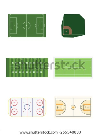 American football, basketball, baseball,ice hockey and soccer sport field vector set isolated on white - stock vector