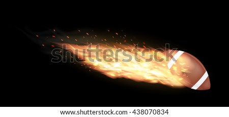 american football burning on a black background - stock vector
