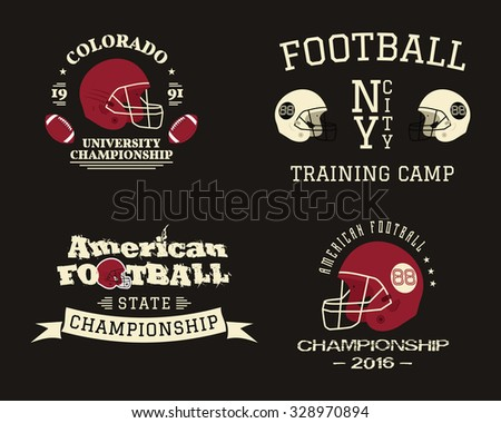 American football championship, team training camp badges, logos, labels, insignias in retro color style. Graphic vintage design for t-shirt, web. Colorful print isolated on a dark background. Vector. - stock vector