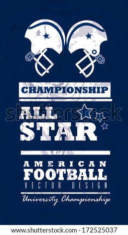 american football design over  blue background vector illustration