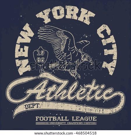American Football Eagle Tee Vintage University Stock