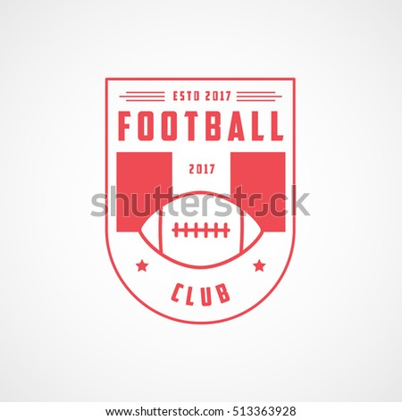 American Football Emblem Red Line Icon On White Background