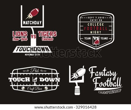American football field and goal team badge, sport pub logo, label, insignia set in retro color style. Graphic vintage design for t-shirt, web. Colorful print isolated on a dark background. Vector. - stock vector