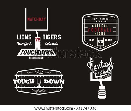 American football field and goal team badge, sport pub logo, unusual label, insignia set in retro style. Graphic vintage design for t-shirt, web. Colorful print isolated on a dark background. Vector. - stock vector