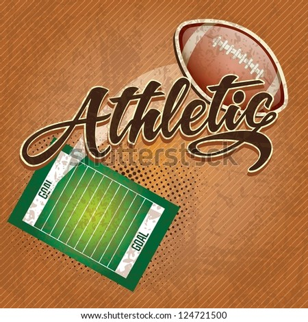 American  football field, athletic team. on retro background - stock vector