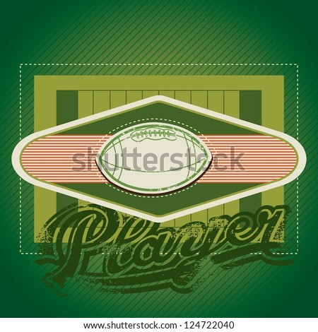American football field with vintage insignia, vector illustration. - stock vector