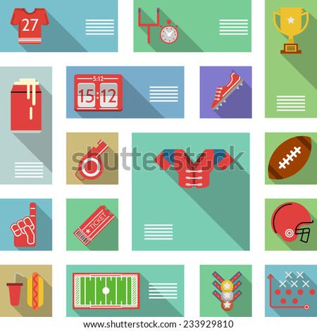 American football flat vector icons. Set of flat colored vector icons with place for your text for American football on white background. - stock vector
