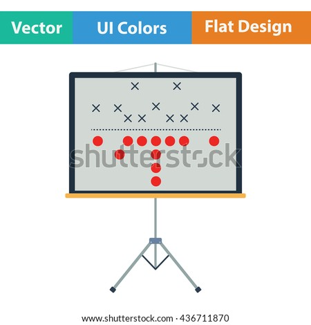 American football game plan stand icon. Flat color design. Vector illustration. - stock vector